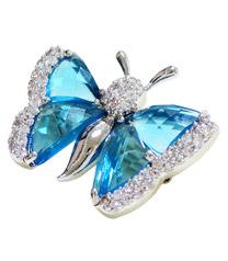 亮麗藍色蝴蝶胸針